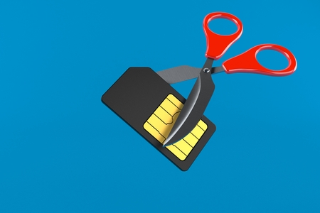 SIM card with scissors isolated on blue background. 3d illustration