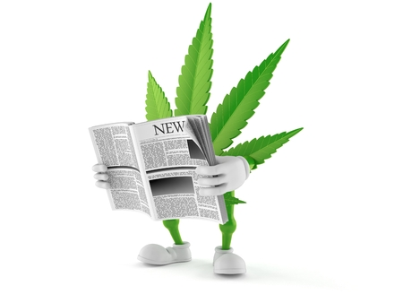 Cannabis character reading newspaper isolated on white background. 3d illustration Stock Photo