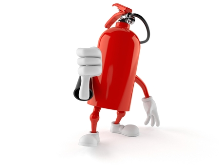 Fire extinguisher character with thumbs down gesture isolated on white background. 3d illustration Stock Photo