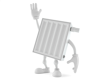 Radiator character with hand up isolated on white background. 3d illustration