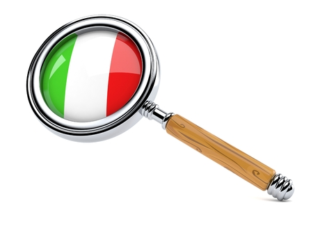 Magnifying glass with italian flag isolated on white background. 3d illustration Banque d'images