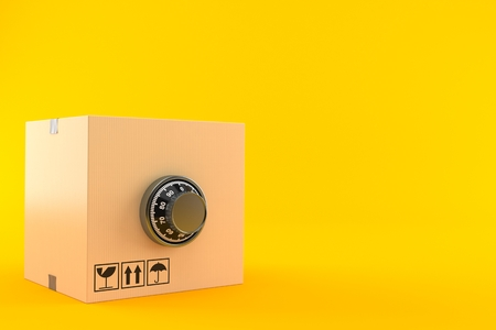 Package with combination lock isolated on orange background. 3d illustration