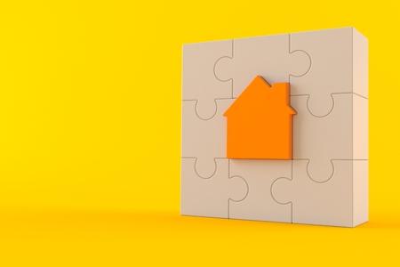 Hauspuzzle lokalisiert auf orange Hintergrund. 3D-Illustration