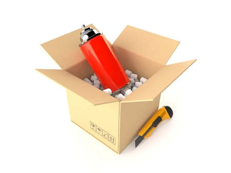 Spray can inside package isolated on white background. 3d illustration