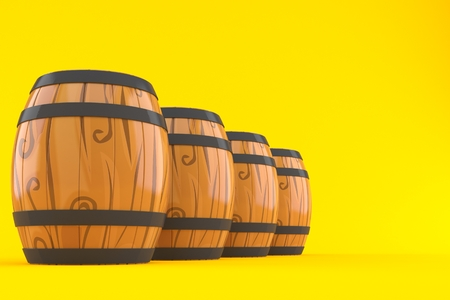 Barrels isolated on orange background. 3d illustration Reklamní fotografie - 106059683