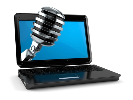 Microphone inside laptop isolated on white background. 3d illustration Stok Fotoğraf
