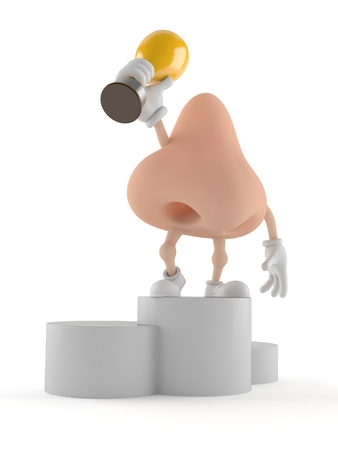 Nose character on podium holding trophy isolated on white background. 3d illustration
