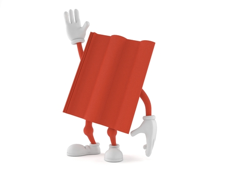 Roof tile character with hand up isolated on white background. 3d illustration Stockfoto