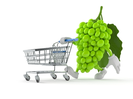 Grapes character with shopping cart isolated on white background. 3d illustration