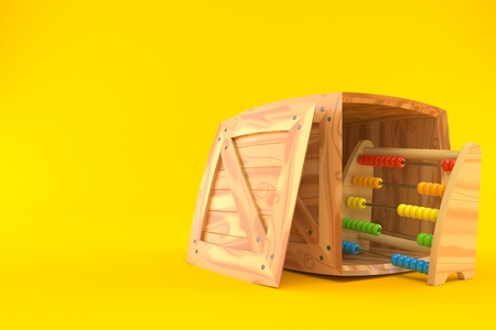 Wooden abacus inside wooden crate on orange background. 3d illustration