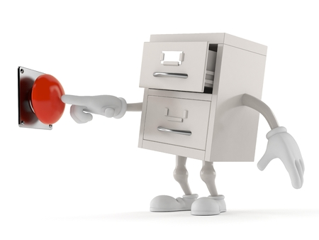 Archives character pushing button isolated on white background. 3d illustration