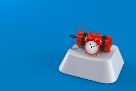 Time bomb on computer key isolated on blue background. 3d illustration