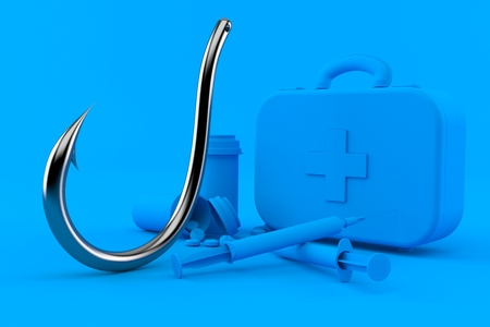 Healthcare background with fishing hook in blue color. 3d illustration