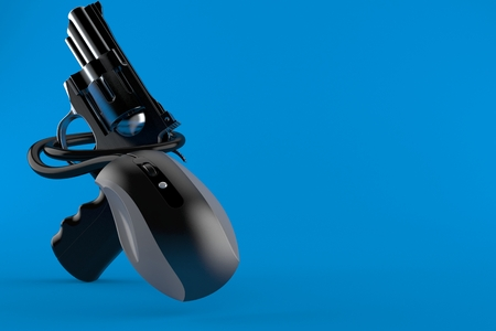 Gun with computer mouse isolated on blue background. 3d illustration