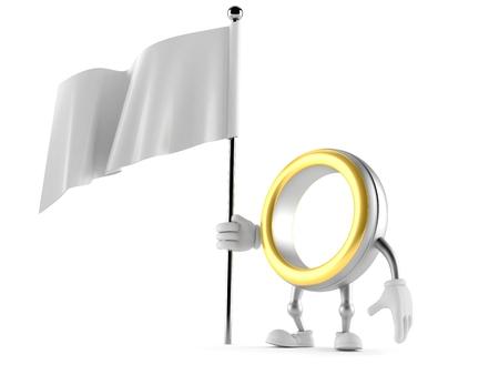 Wedding ring character holding blank flag isolated on white background. 3d illustration