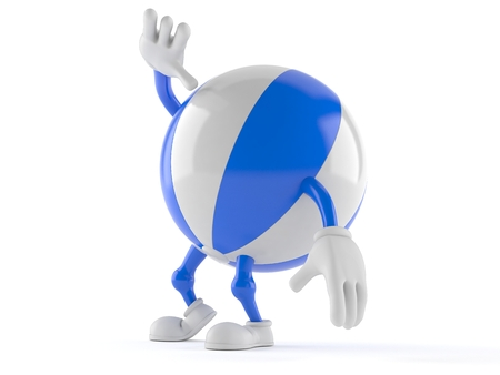 Beach ball character looking up isolated on white background. 3d illustration