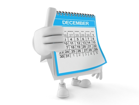 Calendar character with thumbs up isolated on white background. 3d illustration
