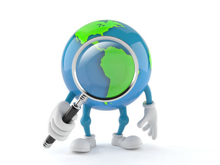 World globe character looking through magnifying glass isolated on white background. 3d illustration