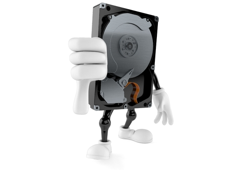 Hard disk drive character with thumbs down gesture with thumbs up isolated on white background. 3d illustration