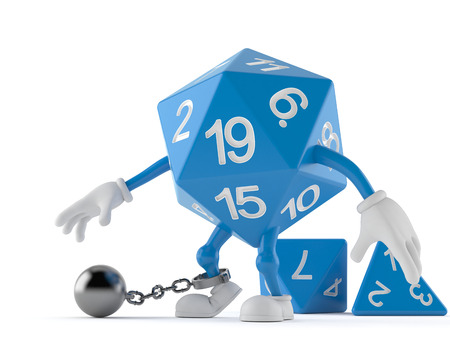 RPG dice character with prison ball isolated on white background. 3d illustration