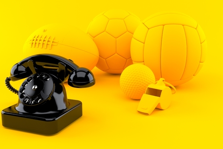 Sport background with telephone in orange color. 3d illustration