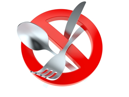 Cutlery with forbidden symbol isolated on white background. 3d illustration Stock Photo