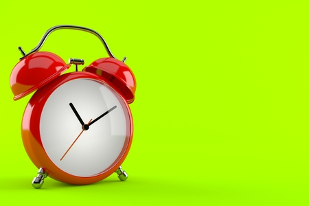 Alarm clock isolated on green background. 3d illustration
