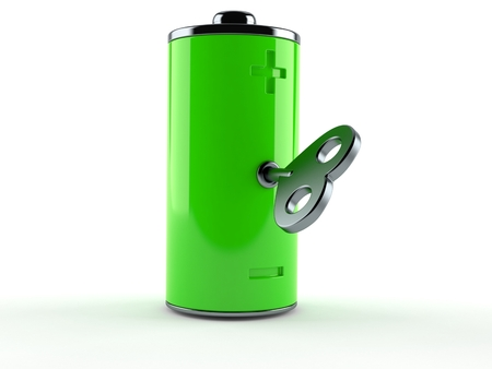 Green battery with clockwork key isolated on white background. 3d illustration