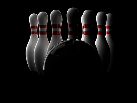 Bowing ball with pins on black background. 3d illustration 스톡 콘텐츠