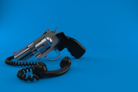 Gun with telephone handset isolated on blue background. 3d illustration