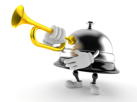 Hotel bell character playing the trumpet isolated on white background. 3d illustration