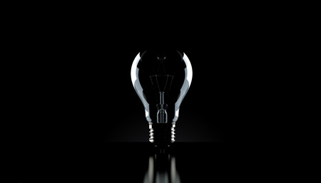 Light bulb on black background. 3d illustration