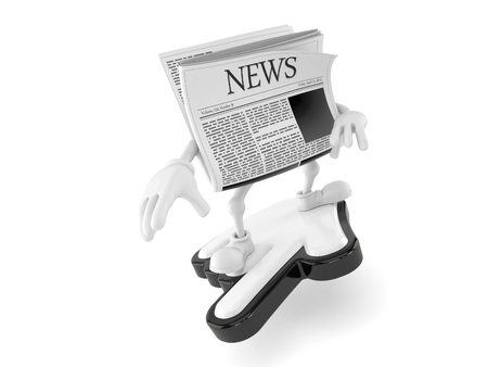 Newspaper character surfing on cursor isolated on white background. 3d illustration