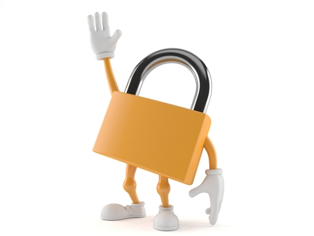Padlock character with hand up isolated on white background. 3d illustration