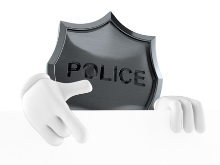 Police badge character pointing behind white board isolated on white background. 3d illustration Stock fotó