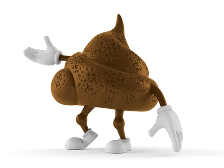 Poop character isolated on white background. 3d illustration
