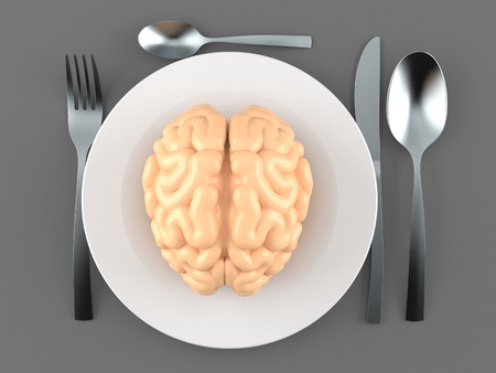 Meal with brain isolated on gray background. 3d illustration