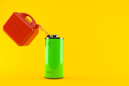 Green battery with gasoline can isolated on orange background. 3d illustration Stok Fotoğraf