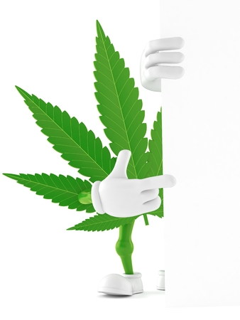 Cannabis character pointing finger isolated on white background. 3d illustration Stock Illustration - 106517812