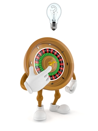 Roulette character having an idea isolated on white background. 3d illustration