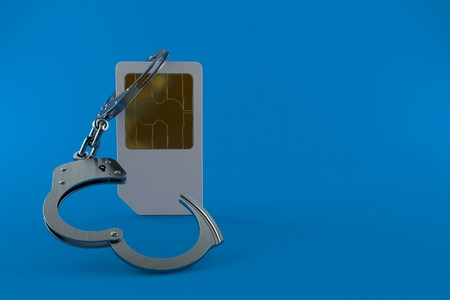 SIM card with handcuffs isolated on blue background. 3d illustration