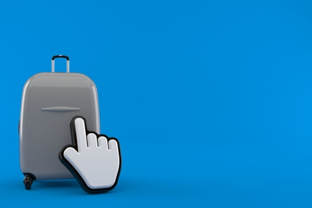 Suitcase with web cursor isolated on blue background. 3d illustration