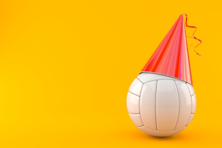 Volleyball ball with party hat isolated on orange background. 3d illustration