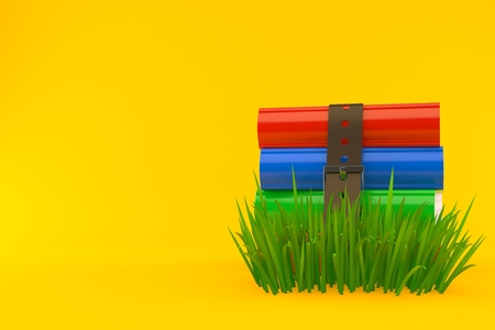 Books on grass isolated on orange background. 3d illustration