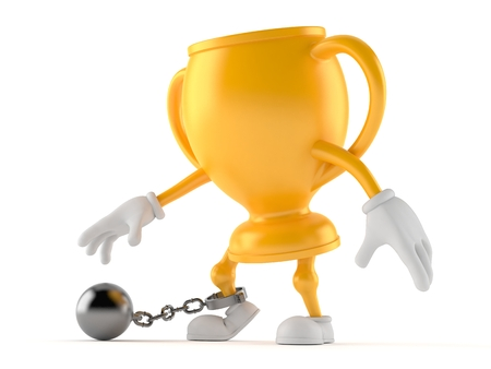 Golden trophy character with prison ball isolated on white background. 3d illustration
