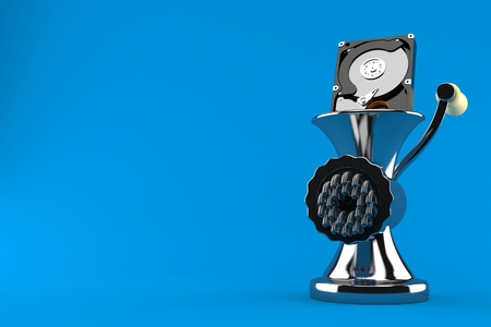 Hard drive inside mincer isolated on blue background. 3d illustration Stok Fotoğraf - 106667276