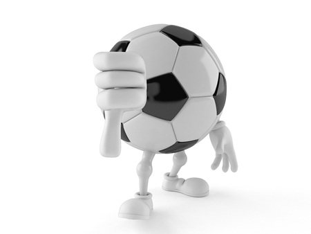 Soccer ball character with thumbs down gesture isolated on white background. 3d illustration