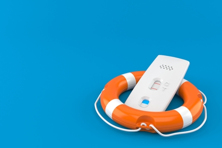 Pregnancy test with life buoy isolated on blue background. 3d illustration