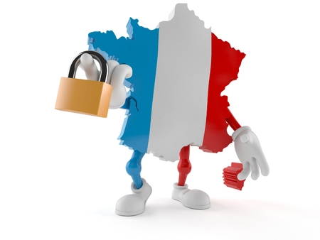 France character holding padlock isolated on white background. 3d illustration