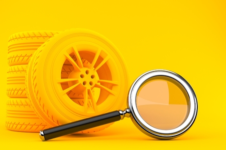 Transport background with magnifying glass in orange color. 3d illustration
